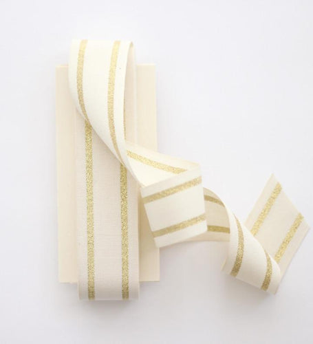 "STRIPED COTTON RIBBON 1 ½"" WIDTH - NATURAL/GOLD"