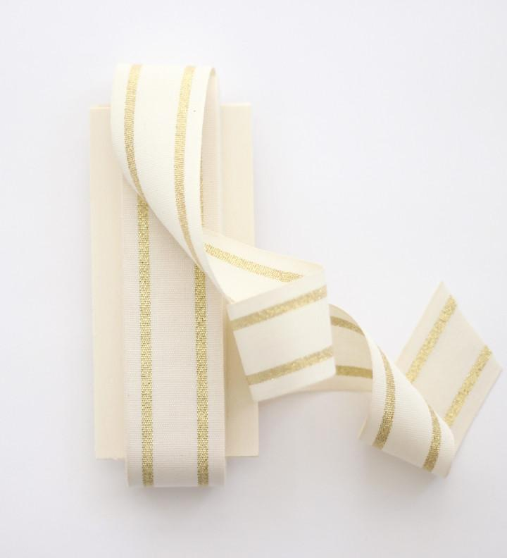 "STRIPED COTTON RIBBON 1 ½"" WIDTH - NATURAL/GOLD - Ellie and Piper"