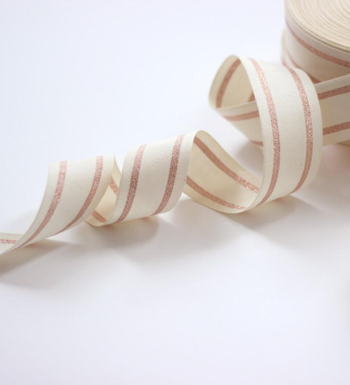 "STRIPED COTTON RIBBON 1 ½"" WIDTH - NATURAL/ROSE GOLD - Ellie and Piper"