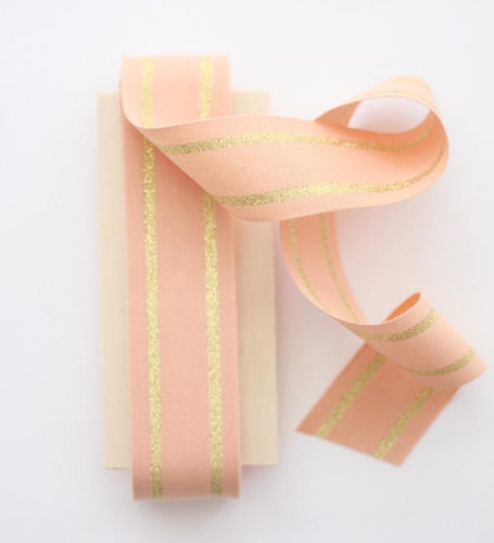 "STRIPED COTTON RIBBON 1 ½"" WIDTH - PEACH/GOLD"