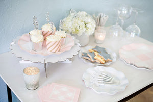 Pink Gingham Wavy Salad Plate - Ellie and Piper