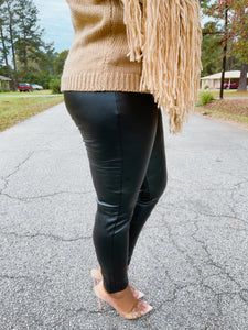 She Ready|Leather Ankle Cut Leggings