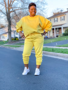 Yellow Puff Sleeve Jogger Set