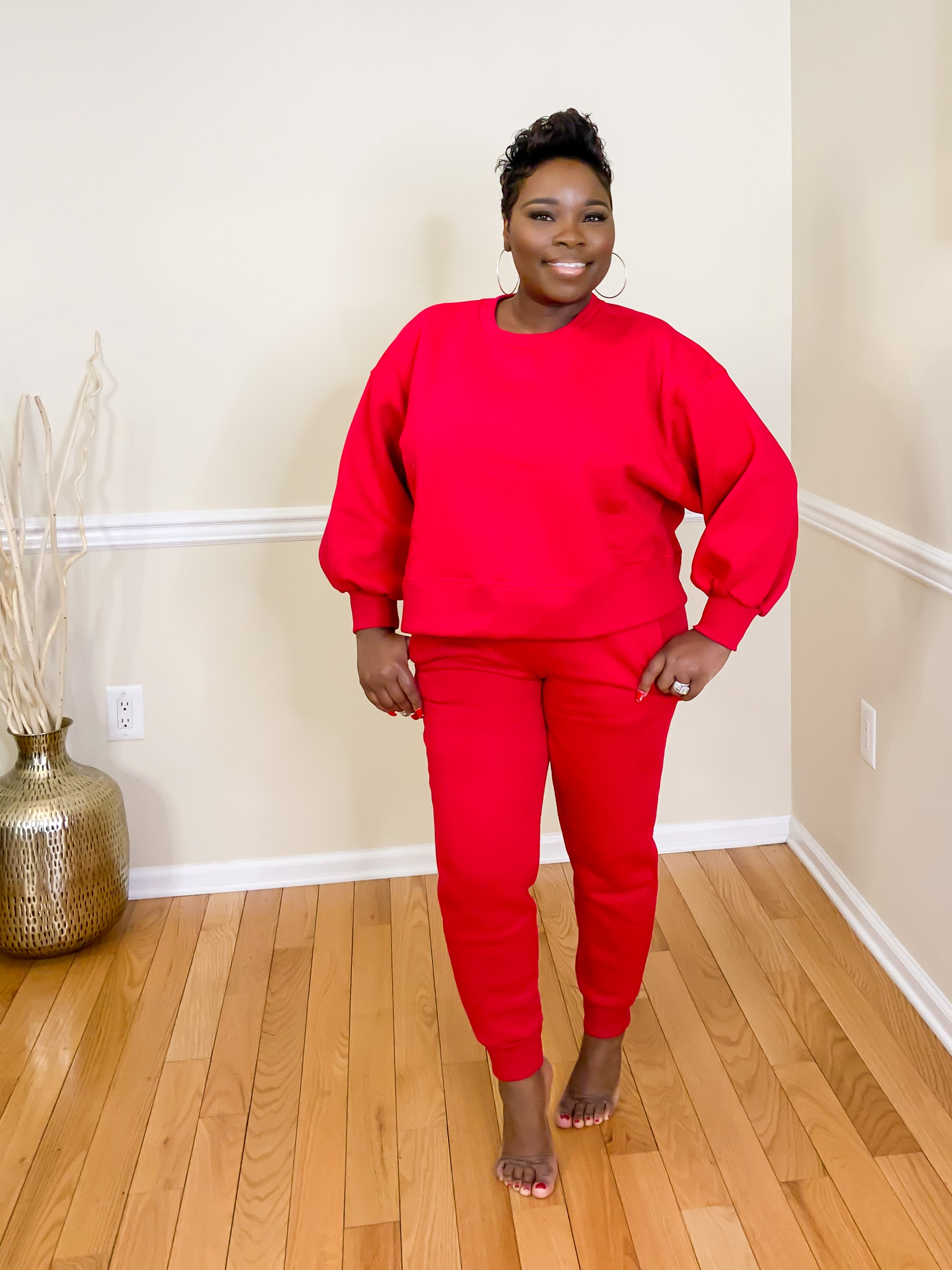 Ruby Puff Sleeves Sweatsuit