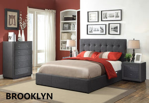 """Brooklyn"" Fabric Bedroom with ""Gaslift"" Option - King single bed, double bed, queen bed, king bed"