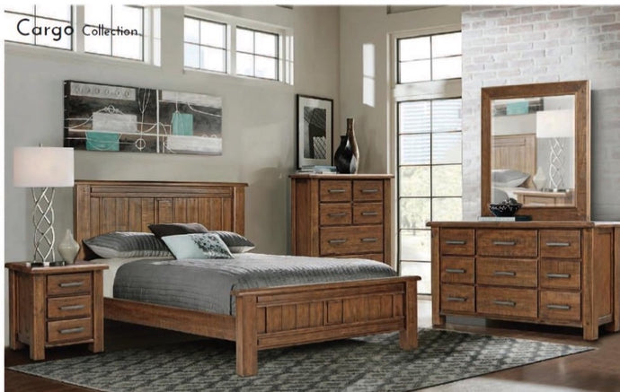 A Solid Classical design made from Pine Wood. - Queen & King bed has a metal centre support - Full Length Rails on all drawers 4pc Suite includes - Bed Frame + 2 Bedsides + Tallboy All items available separately too On display in-store,