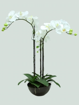 3 STEMS 65CM ARTIFICIAL ORCHID WITH BLACK POT