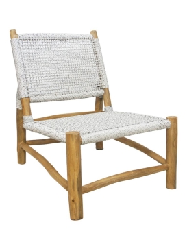 78CMH ACCENT CHAIR NATURAL/WHITE - TEAK & VIRO SYNTHETIC RAT