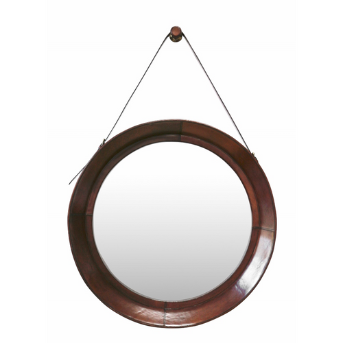 Leather Large Hanging Mirror with Strap & Hook in Chestnut Colour