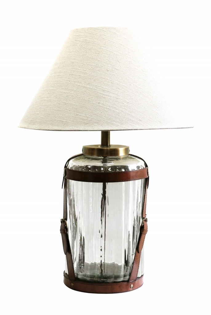 Ribbed Glass Lamp with Tan Leather Straps and Brass Buckles
