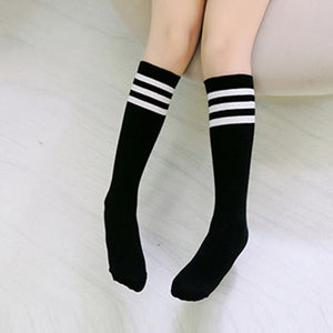 Autumn Warm Babys Girls High-Knee Socks Football Strips Sock Cotton School Soccer Boots Sport Long Leg Socks j2