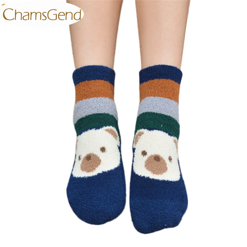 Newly Design 1Pair Animal Cartoon Thick Coral Fleece Soft Socks For Women Girls  160830 Drop Shipping