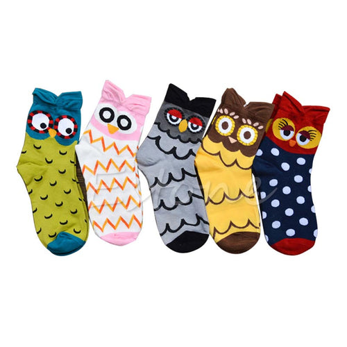 2018 newest 1Pair Design Charming Funny Cartoon Owl Cotton Socks for Women and Girls