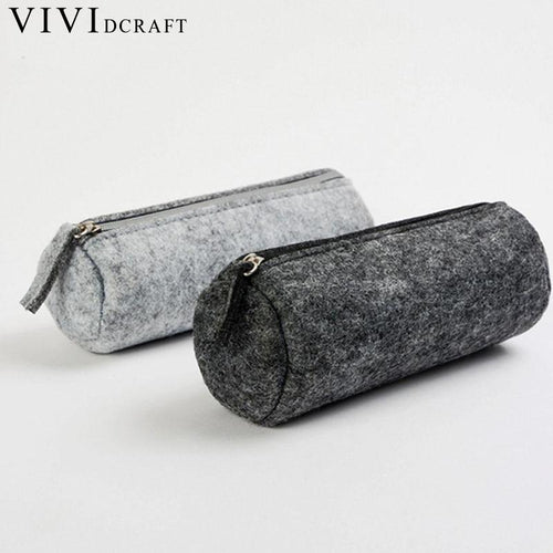 Vividcraft School Supplies Wool Felt Pencil Case Pen Bag Big Storage Multifunctional Pen Bag Student Boy Stationery Pouch Purse