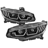 Spyder Apex Projector Headlights with Sequential Turn Signal for 2016+ Honda Civic - Two Step Performance