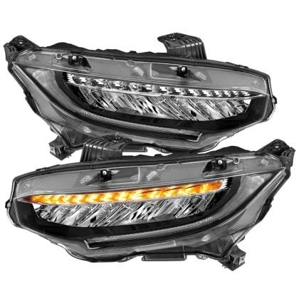 Projector Headlights Plank Style Black w/Amber/Sequential Turn Signal for 2016+ Honda Civic - Two Step Performance