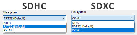 format fat32 and exfat for sdhc and sdxc