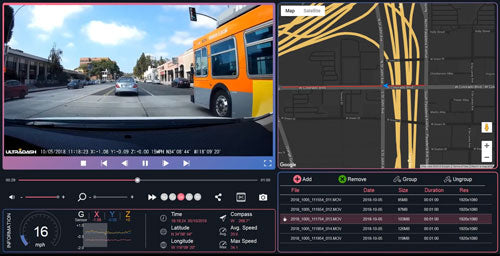 iQ Dash Cam Playback Software for road safety with GPS data