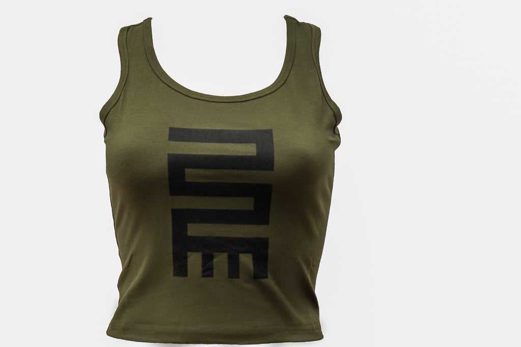 CROP TANK TOP OLIVE GREEN