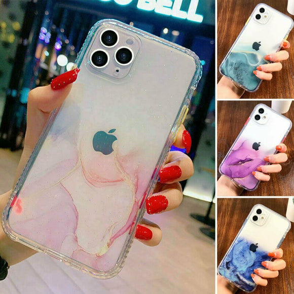 Bling Marble Clear Shockproof Cover for iPhone