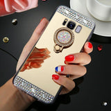 Bling Diamond Ring Holder Stand Mirror Case For Samsung - carolay.co phone case shop