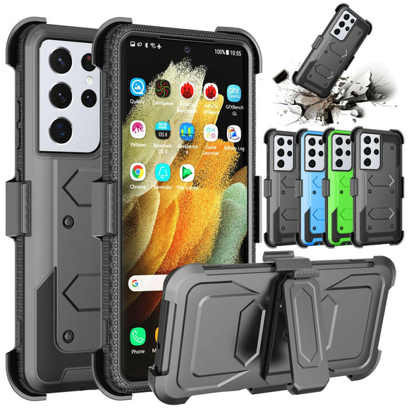 Shockproof Case Belt Clip Holster for Samsung S21 Ultra 5G
