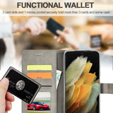 Men's Leather Magnetic Wallet Case for Samsung Galaxy S21