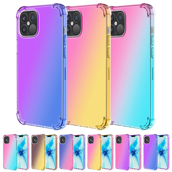 Four Corner Anti Drop Case Rainbow Transparent Shell for iPhone