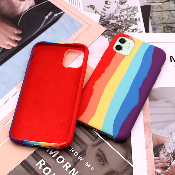 Full Protective Cover Back Liquid Silicone Rainbow For Iphone