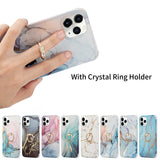 Marble Design Ring Stand Case Geometric Soft Shockproof for iPhone