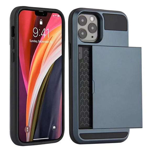Slide Card Shockproof Holder Cover For Wallet Case For iPhone - carolay.co - free shipping