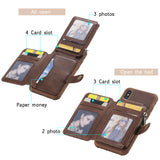 Zipper Multifunction Wallet Card Slot Leather Stand Case For iPhone - carolay.co phone case shop