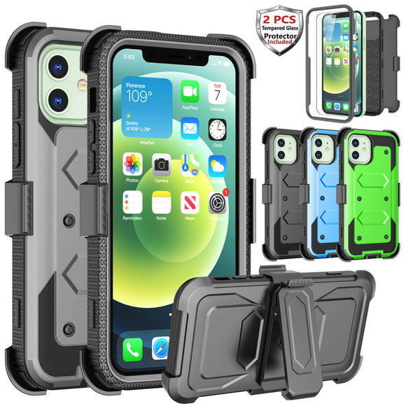 Case Belt Clip Stand + 2 Pack Screen Protector for iPhone 12