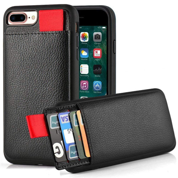 Leather Wallet Case For iPhone XR XS Max XS Card Slot Pull Pouch - carolay.co phone case shop