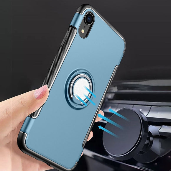 Toraise Case For iPhone X XR XS Max Case Luxury Metal Ring Car Stand - carolay.co phone case shop