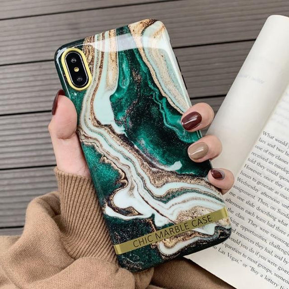 Artistic agate marble gold bar Phone Case For iphone - carolay.co - free shipping