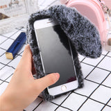 Fluffy Plush Warm Phone Cases Fur Rabbit Diamond Cover Soft - carolay.co phone case shop