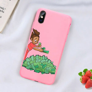 Kash Black head Girl phone case for iPhone Matte Candy Pink Silicone - carolay.co phone case shop