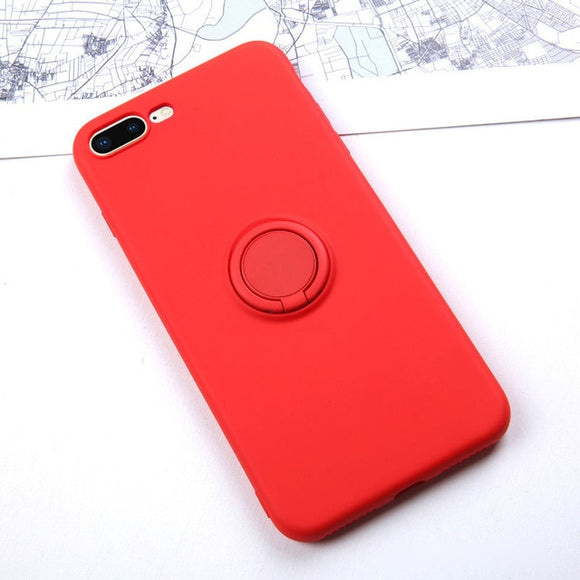 Soft Silicone Case For  iPhone 11 Pro Max Ring Holder For iPhone11 / Red - carolay.co