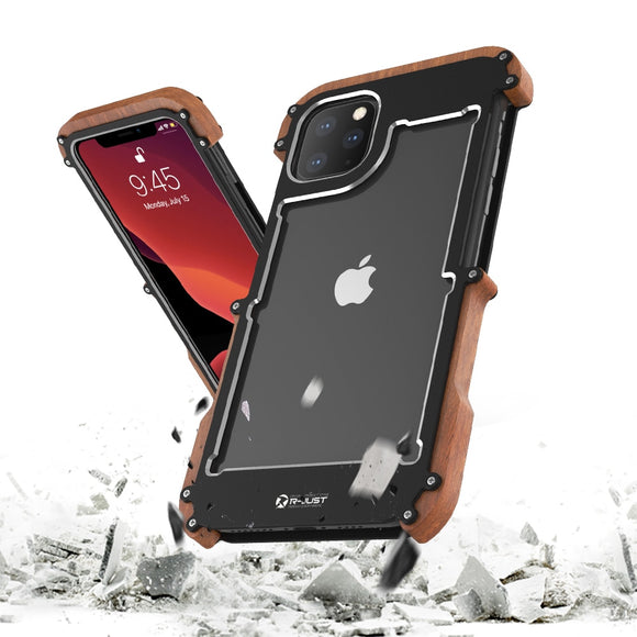 Hard Metal Aluminum Wood Phone Case for iPhone 11 Pro Max [variant_title] - carolay.co