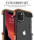 Hard Metal Aluminum Wood Phone Case for iPhone 11 Pro Max - carolay.co phone case shop