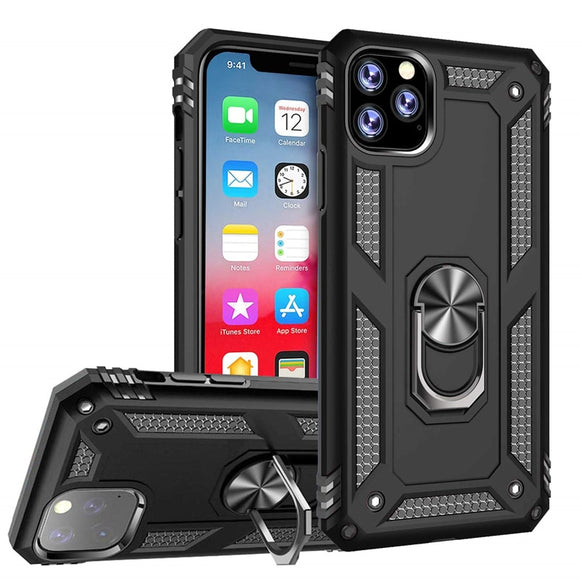 Shockproof Armor Kickstand Phone Case Finger Magnetic Ring Holder Cover - carolay.co phone case shop