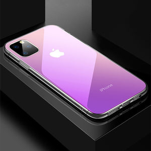Gradient Transparent  Phone Case iPhone Anti-Scratch Tempered Glass Cover - carolay.co phone case shop