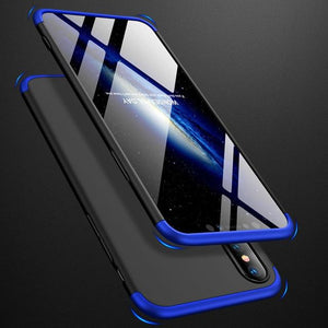 3 in 1 Full Body Protective Case, Tempered Glass Anit Shock Hard Cover for iPhone - carolay.co phone case shop