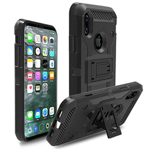Shockproof Heavy Duty Hybrid Case with Belt Clip Stand for iPhone X - carolay.co phone case shop