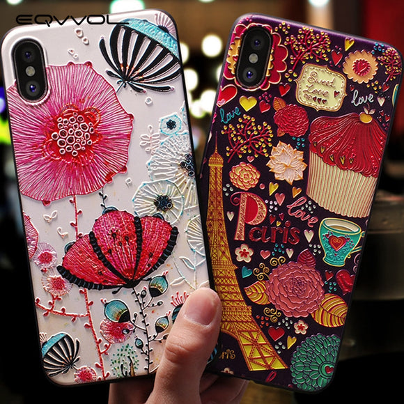 Emboss Cartoon Patterned Phone Case For iphone X 8 - carolay.co phone case shop