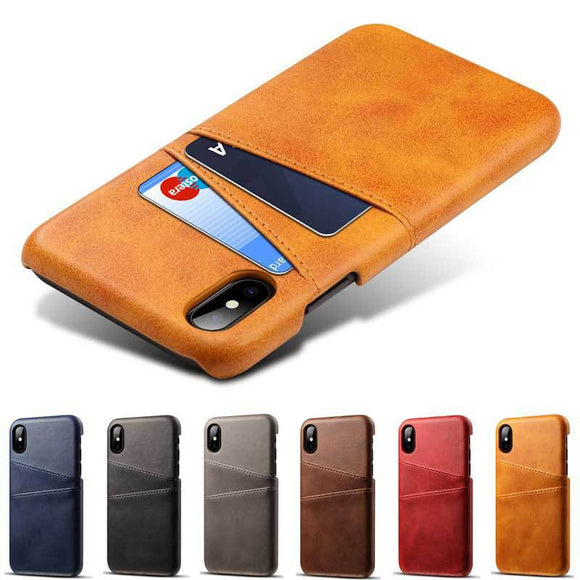 iPhone X XS Max XR Credit Card Case Vintage PU Leather Wallet Case - carolay.co phone case shop