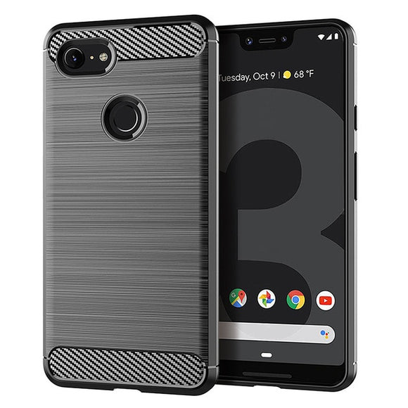 Slim Armor Soft Silicone Phone Back Cover for Pixel 3XL Brushed Carbon - carolay.co phone case shop