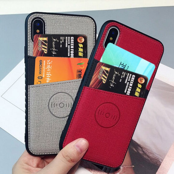 Fabric Cloth Vehicle For iPhone X XS Max XR Credit Card Wallet Case - carolay.co phone case shop