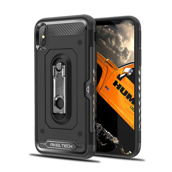 Hybrid Armor Case with Metal Stand and Card Slot for iPhone - carolay.co phone case shop